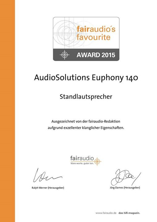 Euphony 140 awarded product of the year!